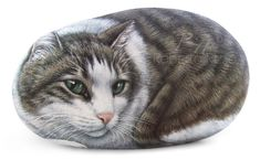 Custom Cat Portrait Hand Painted on a Sea Stone por RobertoRizzoArt