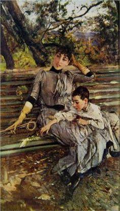 """""""In Garden"""", c. 1890, by Giovanni Boldini (Italian, 1842-1931)."""