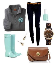 """""""chilly"""" by seasidepreppy ❤ liked on Polyvore featuring Hunter, Michael Kors, J.Crew, Tory Burch and Essie"""