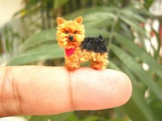 Handmade micro miniature crocheted dog - Silky terrier puppy is made of embroidery threads and stuffed by polyfil..    Size: Aprox. 0.8 inch ( 20 mm) long