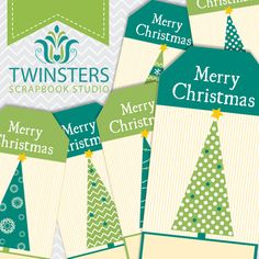 Printable Vintage Christmas tags png TW060 by Twinsters on Etsy, $2.50