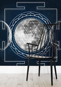 Triple Moon Wallpaper by Bee-Bee Deigner (beebeedeigner) from per m² Bee Bee, Triple Moon, Sticks, Past, Commercial, Forget, Retail, Delivery, Homes