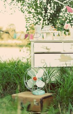vintage picnic...love the fan.