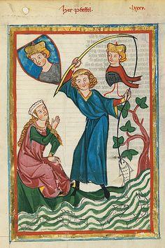 Codex Manesse, UB Heidelberg, Cod. Pal. germ. 848, fol. 302r: Herr Pfeffel. Tra il 1305 e il 1315......eh what?