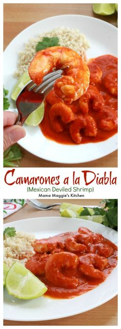 Camarones a la Diabla, or Mexican Deviled Shrimp, is spicy food at its best. This Mexican recipe promises to give a good kick to your dinner. Often served with white rice, lime, and a tall glass of water to tame the heat. By Mama Maggie's Kitch