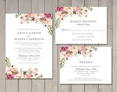 Floral Wedding Invitation RSVP Details Card by vintagesweetdesign