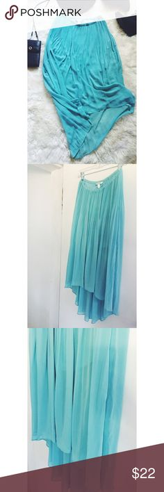 +BF SALE+ LC Lauren Conrad Teal Chiffon Maxi Skirt Gorgeous color and texture! This beautiful maxi is a feminine and lovely addition to your wardrobe. Sheer fabric, lined to mini skirt length. High low cut. Elastic waistband. Gently used. Great condition. LC Lauren Conrad Skirts Maxi
