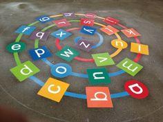 Playground painting ideas - Aluno On Preschool Playground, Playground Games, Playground Flooring, Outdoor Playground, Outdoor Classroom, Outdoor School, Playground Painting, School Painting, Painting Concrete