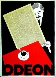 Vintage Weimar Poster 'Odeon' by Hugo Laubi. Coffee Poster, Coffee Art, Bauhaus, Bts Design Graphique, Old Advertisements, Journal, Cool Fonts, One Design, Design Ideas