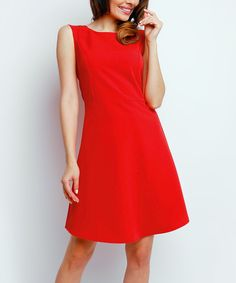 Look at this Foggy Red Solid Fit & Flare Dress on #zulily today!