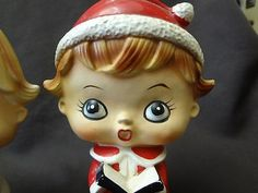LIPPER MANN VINTAGE SERAMIC CHRISTMAS RETRO FLAT FACE CAROLERS SHAKERS STOPPERS | #400137546