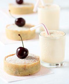 Cherry Bakewell Tartelettes with Cherry Pit Ice Cream Milkshakes