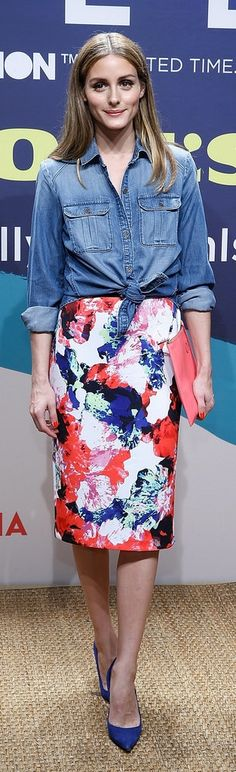 Olivia Palermo outfit inspiration: a floral skirt and denim top.