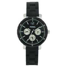 Fossil Women's BQ9408 Silicone Analog with Black Dial Watch Fossil. $94.88. Water-resistant to 100 Meters(330 feet). Case diameter: 37. Scratch resistant mineral. Analog quartz movement. Stainless steel case. Save 30%!