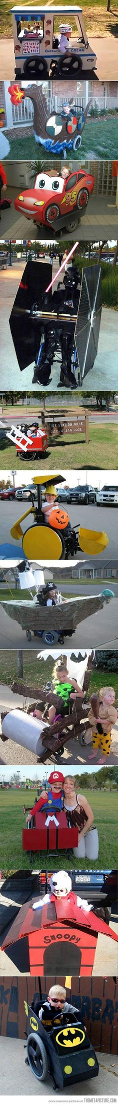 Awesome HalloweenI was impressed when I first saw these costumes ~ even more impressed to see that they are for kids in Wheel Chairs! Creative Costumes, Cute Costumes, Awesome Costumes, Halloween Costumes For Kids, Holidays Halloween, Happy Halloween, Cosplay Costumes, Halloween Party, Costume Ideas