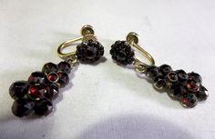 Victorian 1/20 12k gold filled Bohemian garnet earrings from mehrdad on Ruby Lane