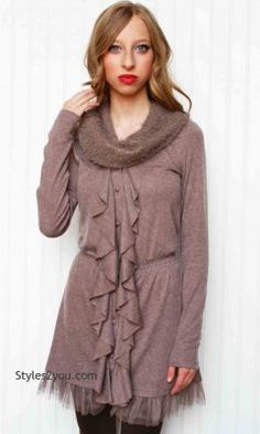 AC Gloria Knit Tunic Attached Scarf In Ecru [AD3324-F12 Knit Tunic With Scarf] - $42.00 :