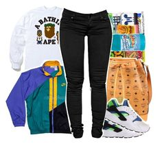 . by beautifulme078 on Polyvore featuring polyvore, fashion, style, A BATHING APE, NIKE and MCM  |Lilshawtybad|