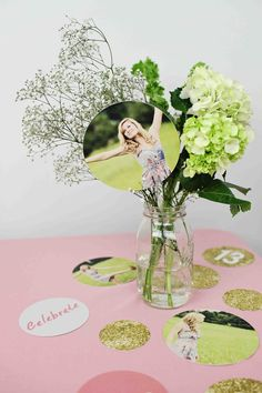 Glam Graduation Party Ideas - centerpiece ideas using @Samantha Young Tree Greetings graduation party decorations