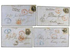 ESTADOS UNIDOS. Sc.70 (8). 1863-68. Conjunto de 8 cartas circuladas de NEW YORK a ESPAÑA con sello de 24 cents. lila. Manuscrito ´pr. China´...