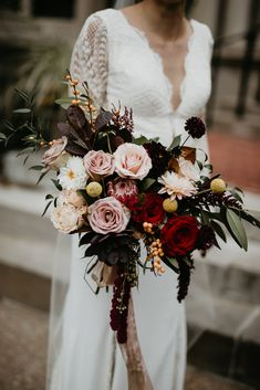 Floral Wedding Cakes This lush bouquet is filled with pink roses with pops of red and yellow Spring Wedding Bouquets, Fall Bouquets, Fall Wedding Bouquets, Fall Wedding Flowers, Bride Bouquets, Bridal Flowers, Flower Bouquet Wedding, Floral Wedding, Bouquet Flowers