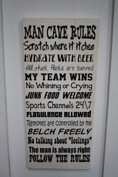 SALE Man Cave Rules Wood Subway art sign Typography.