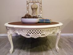 Beautiful Carved Antique White French Coffee Table