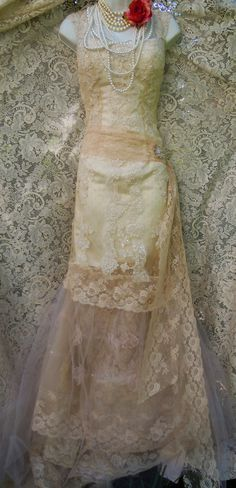 Beaded lace dress  wedding  champagne nude tiered flapper tulle boho vintage mermaid  romantic small  by vintage opulence on Etsy