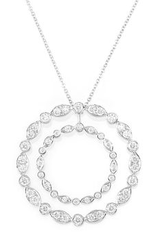 Platinum and Diamond Pendant-Necklace, Tiffany & Co.   50 round diamonds ap. 1.25 cts., signed Tiffany & Co., ap. 7 dwt. Length 30 1/2 inches. With signed box & pouch.