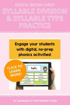 Help your students learn 3 of the syllable division rules and all 7 syllable types with these digital phonics activities! The bundle includes games and decks for Open and Closed Syllables Review, VC/CV Syllable Division Pattern Review, Silent E Syllable Type Review, and so much more! Phonemic Awareness Activities, Phonological Awareness, Phonics Activities, Syllable, Student Learning, Second Grade, Division, Decks