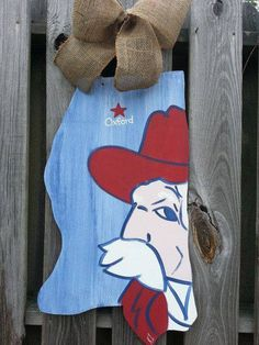 Mississippi painted Ole Miss Door Hanger.