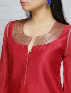 Red Zari Embroidered Chanderi Georgette Kurta Neck Designs For Suits, Neckline Designs, Dress Neck Designs, Blouse Designs, Salwar Pattern, Kurta Patterns, Churidar Designs, Kurta Designs Women, Latest Kurti Designs
