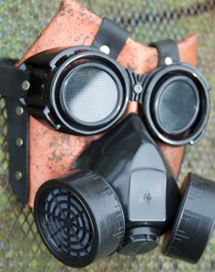 Handmade leather art Halloween spikes gas mask by MonkeyDungeon, $134.99