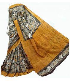 Yellow Hand Batik Pure Silk Saree