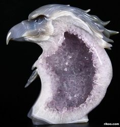 "7.3 "" Carved Agate and Amethyst Crystal Geode Eagle Sculpture, Stone origin : Brazil. Via rikoo.com ( left side view )"