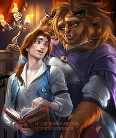 Male!Belle and Female!Beast ||| Disney Beauty and the Beast Genderbend Fan Art by sakimichan