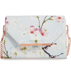 Main Image - Ted Baker London Hadly Cherry Blossom Faux Leather Crossbody Bag
