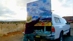 Louisa McElwain - a New Mexican Painter. She paints Outside mostly but will finish up in her studio. The [paintings happen quickly. She paints her reactions to the magnificent landscape of New Mexico capturing it's beauty both rough and gentile. She has made her own painting tools out of need. I think she is one of America's greatest painters.