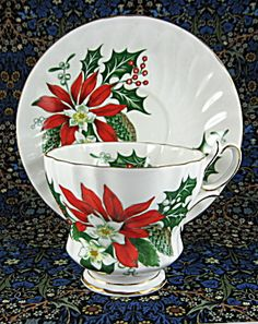 Noel Cup And Saucer Queen Anne Christmas Vintage Poinsettia Holly