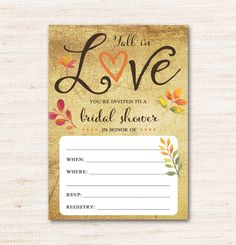 Fill-In Bridal Shower Invitation – Fall in Love – Autumn – Instant Download Printable $2.00