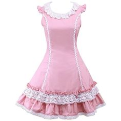 Partiss Women's Lace Ruffles Sweet School Girl Lolita Cosplay Lolita... ❤ liked on Polyvore featuring dresses, frilly dresses, flutter-sleeve dress, lace cocktail dress, lace flounce dress and flounce dress