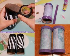 Binoculars from tp rolls. I like the electrical tape trim, it would make them a tad sturdier. I love the zebra paper, but you could let kids decorate their own as an activity.