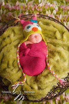 Newborn Owl Hat - Baby Girl Owl Hat - Newborn Photo Prop - Crochet Owl Hat - Sizes Newborn - Toddler