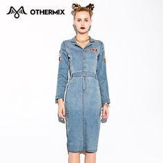 Othermix 2015 женщины платья новая осень значок дизайн с длинными рукавами джинсовые платья купить на AliExpress
