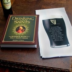 Drinking With the Saints Book & Bar Towel Gift Set - Dish towel features the famous quote of St. Brigid, patroness of Ireland, about beer!
