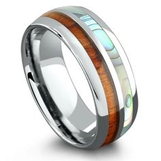 Tungsten Ring With Half Koa Wood & Half Abalone Wood Inlay Rings, Wood Rings, Perfect Engagement Ring, Engagement Rings, Barrel Rings, Tungsten Carbide Rings, Wedding In The Woods, Wedding Rings, Wedding Stuff