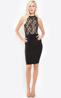 Stunning lace dress to wear to a dinner party! I MakeMeChic.com