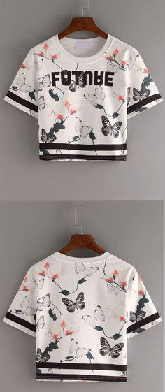Letter   Butterfly Print Crop T-shirt - White. Tenues ModeTenue FemmeMode  ... 210cd2ac307