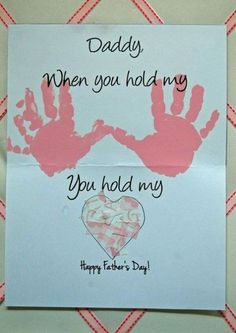 """Leave out """"Daddy"""" 40 DIY Father's Day Card Ideas and Tutorials for Kids.Handprint Happy Father's Day Ca Baby Crafts, Toddler Crafts, Preschool Crafts, Crafts For Kids, Kids Diy, Diy Father's Day Gifts, Father's Day Diy, Craft Gifts, Food Gifts"""