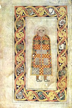 Book of Durrow, Page with Man: Gospel of Matthew, late 7th c